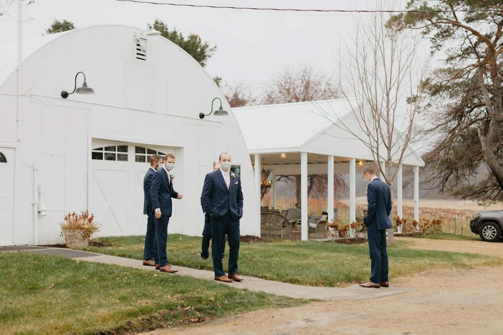 Covid Safe Wedding - Groomsmen getting ready at Willow Brooke Farm, Red Wing, MN